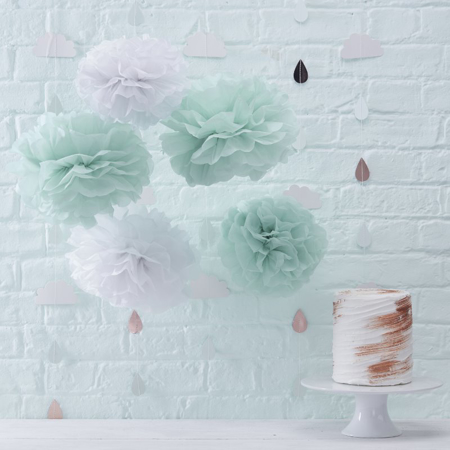 Immagine di Ginger Ray® Pom Pom di carta Mint 10 pz.