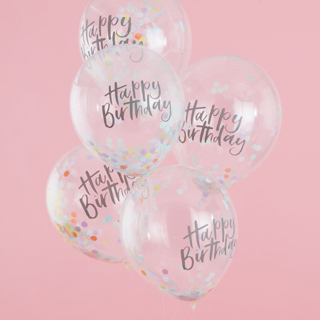 Immagine di Ginger Ray® Happy Birthday palloncini con coriandoli 5 pz.