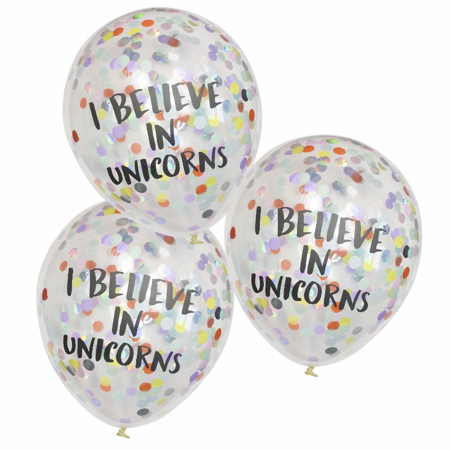 Immagine di Ginger Ray® I Believe in Unicorns Palloncini concoriandoli 5 pz.