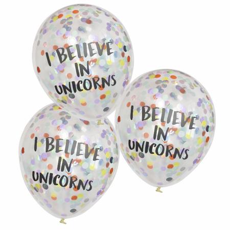 Ginger Ray® I Believe in Unicorns Palloncini concoriandoli 5 pz.