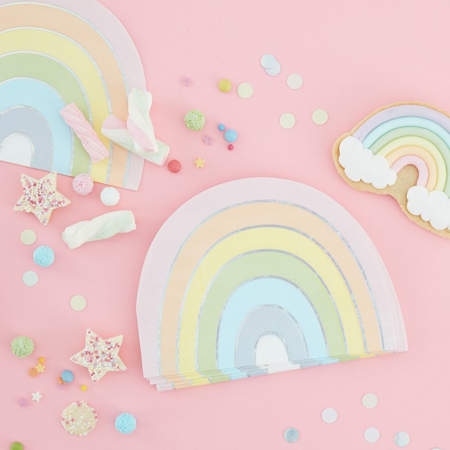 Immagine di Ginger Ray® Rainbow tovaglie di carta Pastel Party 16 pz.