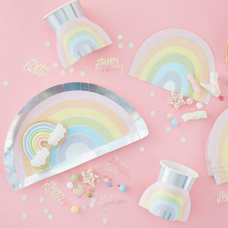 Immagine di Ginger Ray® Rainbow tovaglie di carta Pastel Party 16 pz.