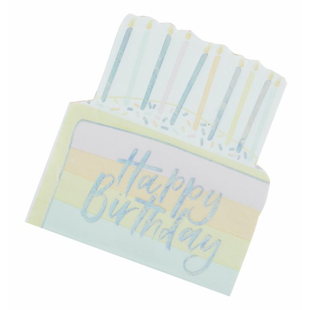 Immagine di Ginger Ray® Cake tovaglie di carta Pastel Party 16 pz.