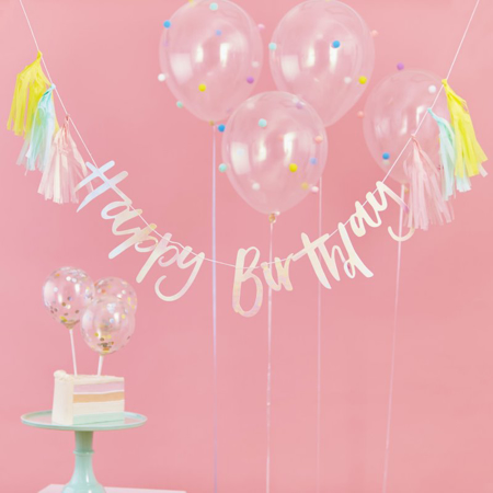 Immagine di Ginger Ray® Ghirlanda Happy Birthday  Perla Pastel Party