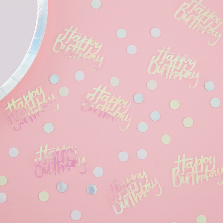 Picture of Ginger Ray® Happy Birthday Iridescent Table Confetti Pastel Party