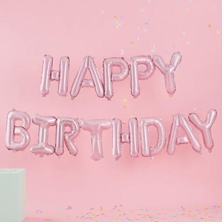 Immagine di Ginger Ray® Ghirlanda Palloncini Happy Birthday Mat Pastel Party