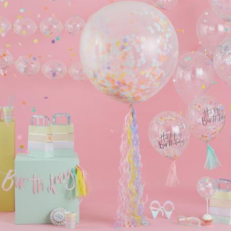 Immagine di Ginger Ray® Ghirlanda Palloncini Happy Birthday Mat Pastel Party