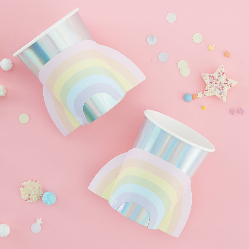 Immagine di Ginger Ray® Rainbow bicchieri di carta Pastel Party 8 pz.