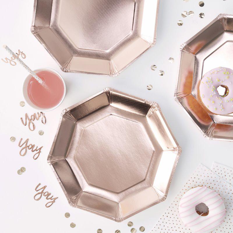 Ginger Ray® Papirnati krožniki Rose Gold 8 kosov