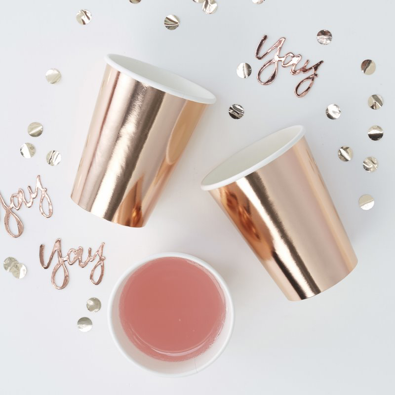 Immagine di Ginger Ray® Bicchieri di carta Rose Gold 8 pz.