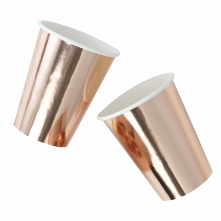 Picture of Ginger Ray® Rose Gold Foiled Paper Cups Pick & Mix