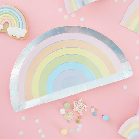 Immagine di Ginger Ray® Rainbow piatti di carta Pastel Party 8 pz.