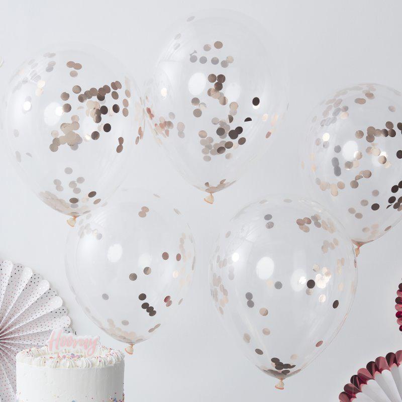 Immagine di Ginger Ray® Palloncini con coriandoli Rose Gold 5 pz.