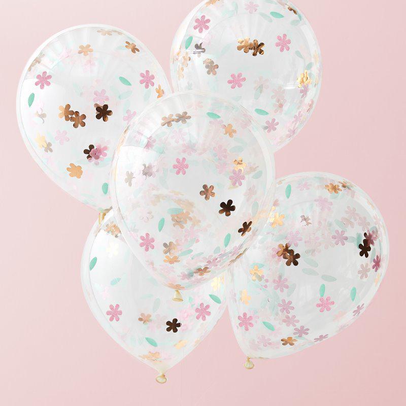 Immagine di Ginger Ray®  Palloncini con coriandoli  Ditsy Floral 5 pz.