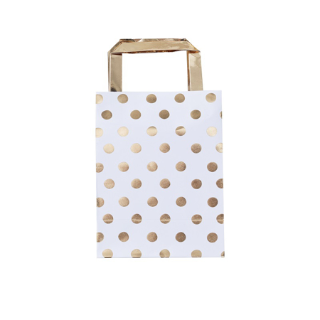 Immagine di Ginger Ray® Borsa regalo Gold Polka Dot 5 pz.
