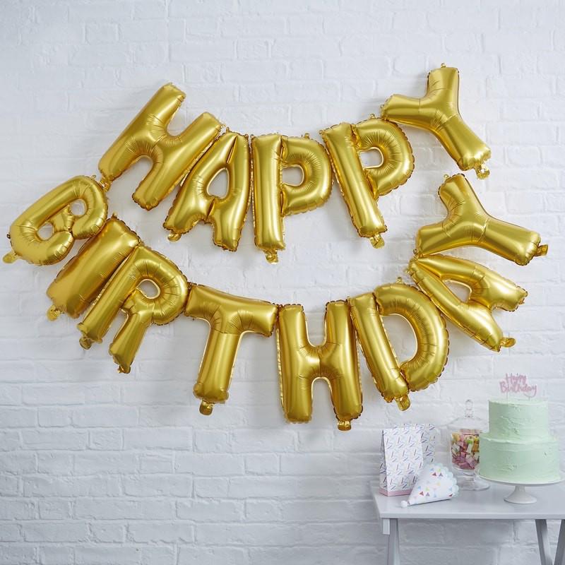 Immagine di Ginger Ray® Ghirlanda di palloncini Happy Birthday Gold