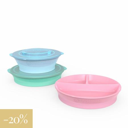 Immagine di Twistshake® Set piatti scodella, piatto, piatto a scomparti