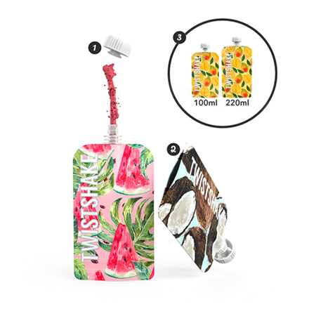 Picture of Twistshake 3x Refillable Squeeze Bag 220ml  Marble