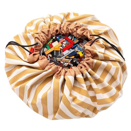 Immagine di Play&Go® Sacco Portagiochi e Tappeto Stripes Mustard