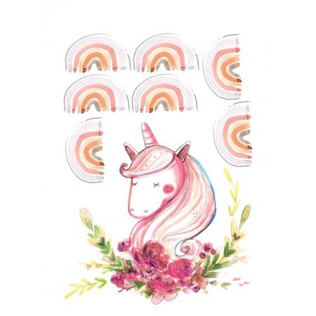 Immagine di Pick Art Design® Adesivo da parete Piccolo unicorno con arcobaleni