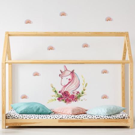 Immagine di Pick Art Design® Adesivo da parete Unicorno con arcobaleni