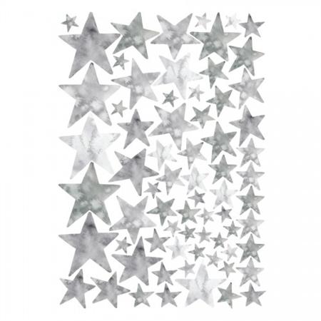Pick Art Design® Adesivi da parete Watercolor Stelle grige