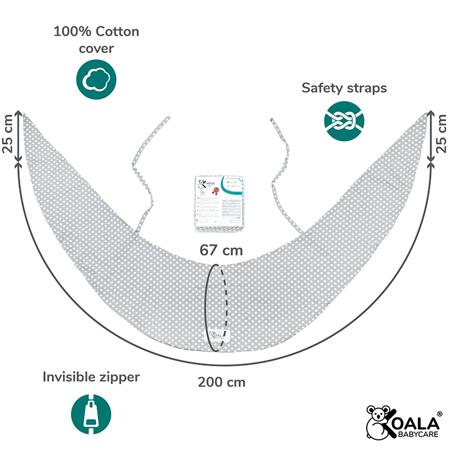 Koala Babycare® Federa per cuscino gravidanza Hug Comfy Grey