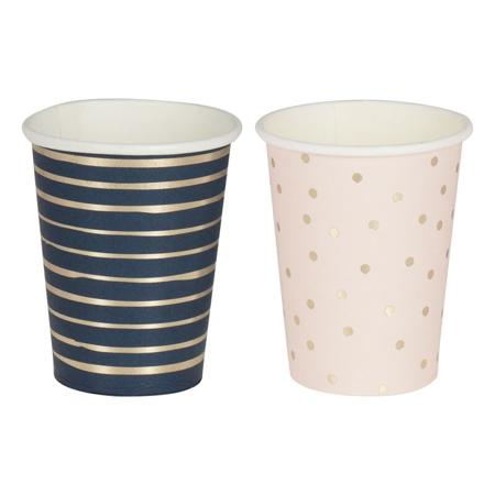 Ginger Ray® Bicchieri di carta Pink/Navy 8 pz.