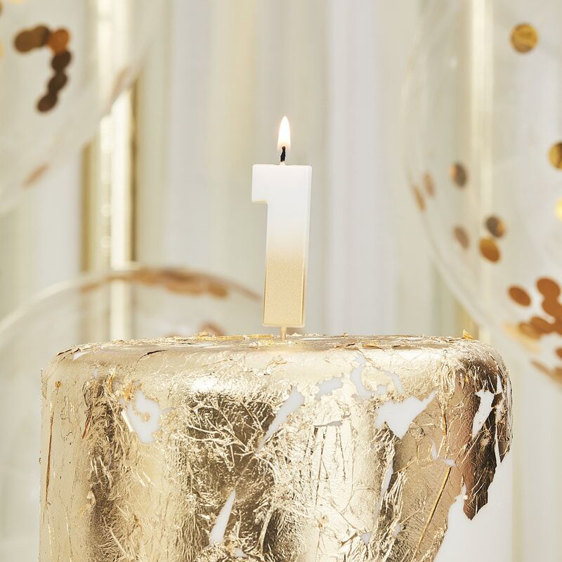 Immagine di Ginger Ray® Candelina Numero 1 Gold Ombre