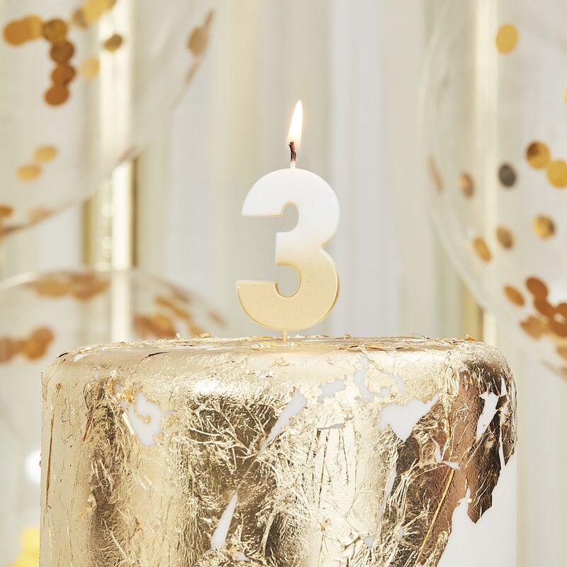 Immagine di Ginger Ray® Candelina Numero 3 Gold Ombre