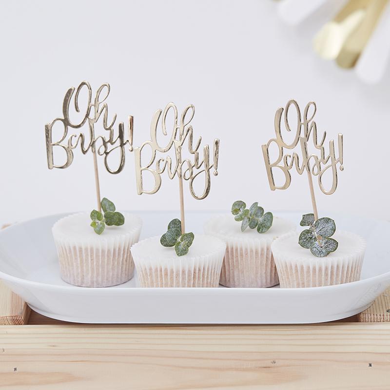 Immagine di Ginger Ray® Decorazioni di pasticceria Oh Baby! 12 pz.