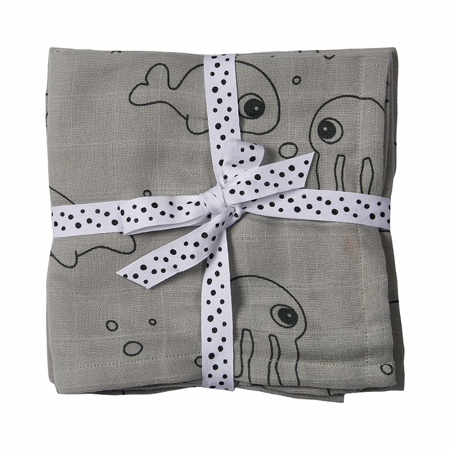 Immagine di Done by Deer®  Set di 2 Teli per fasciare Sea friends Grey 120x120