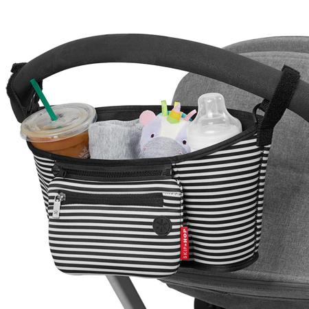 Immagine di Skip Hop® Cestino porta oggetti per passeggino Black & White Stripe