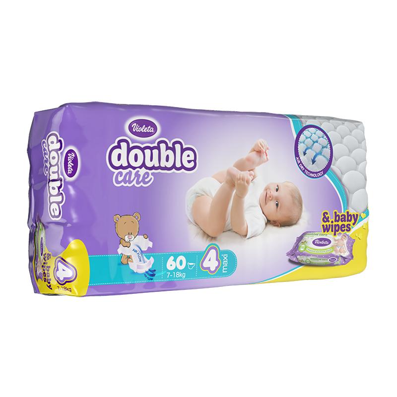 Immagine di Violeta® Pannolini AirCare 4 Maxi (7-18kg) Jumbo 60+Salviettine umidificate Baby in omaggio