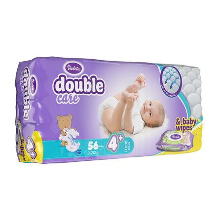 Immagine di Violeta® Pannolini AirCare 4 Maxi plus (9-20kg) Jumbo 56+Salviettine umidificate Baby in omaggio