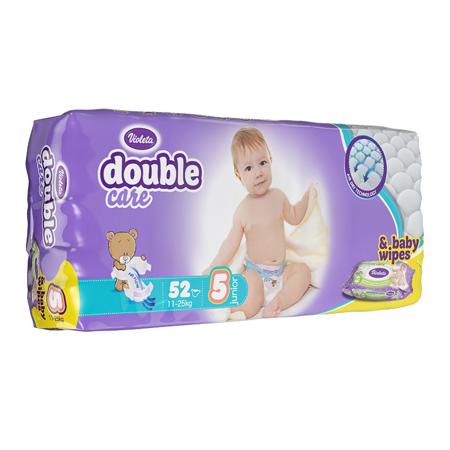 Immagine di Violeta® Pannolini AirCare 5 Junior (11-25kg) Jumbo 52+Salviettine umidificate Baby in omaggio