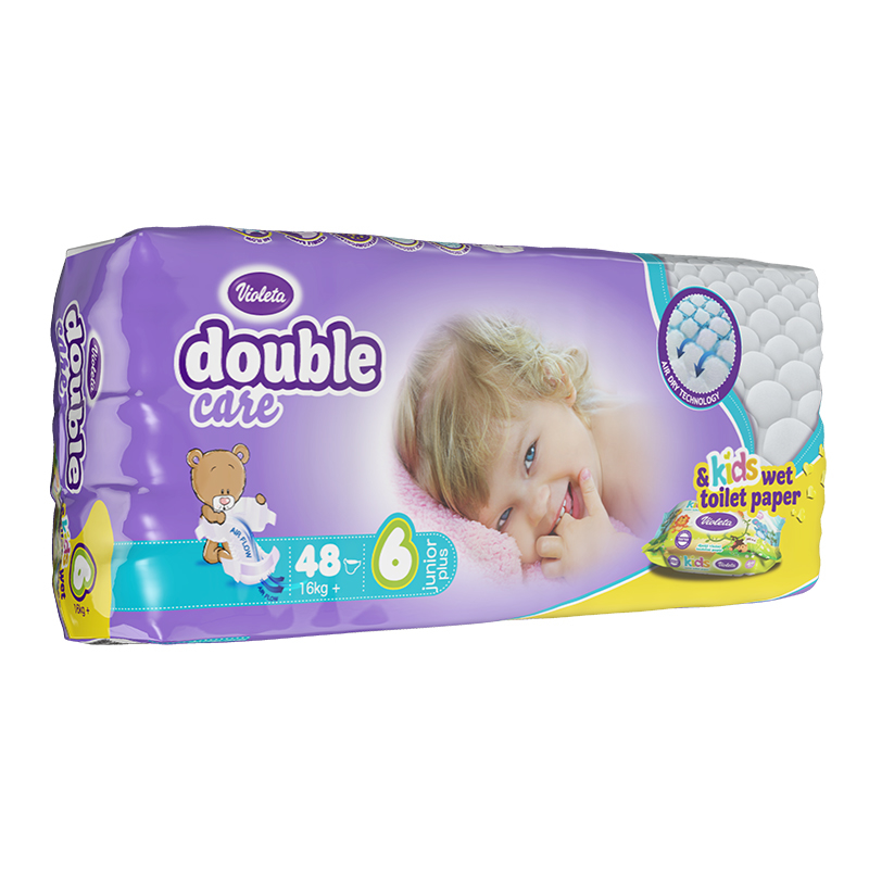 Immagine di Violeta® Pannolini AirCare 6 Junior Plus (16kg+) Jumbo 48+Salviettine umidificate Baby in omaggio