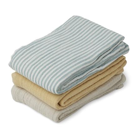 Immagine di Liewood® Set di 3 pannolini tetra Line Sea Blue Stripe Mix 60x60