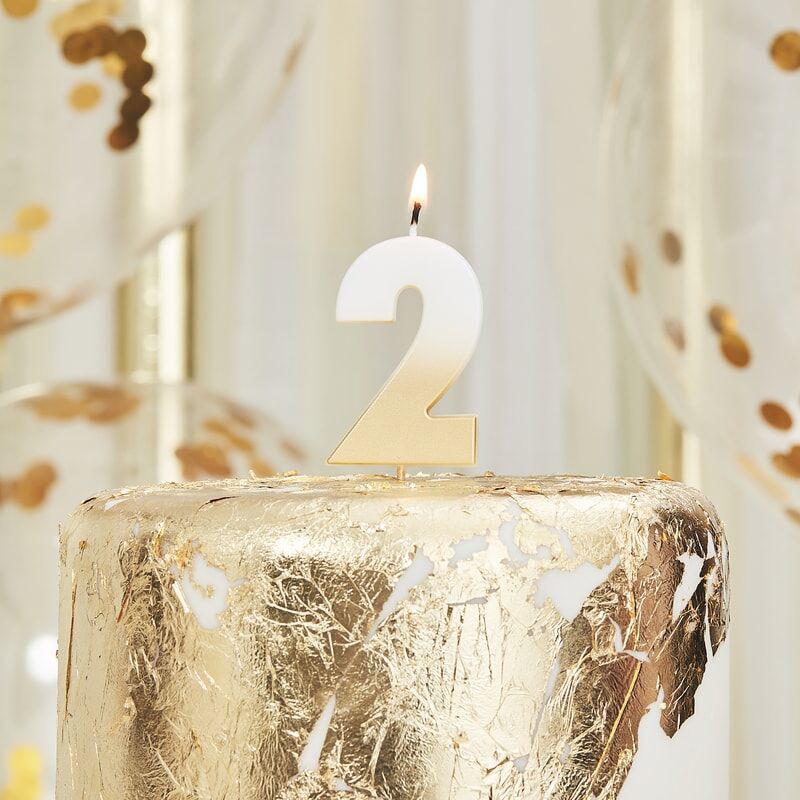 Immagine di Ginger Ray® Candelina Numero 2 Gold Ombre