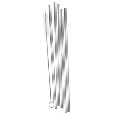Immagine di Ginger Ray® Cannucce in acciaio inossidabile Silver 5 pezzi