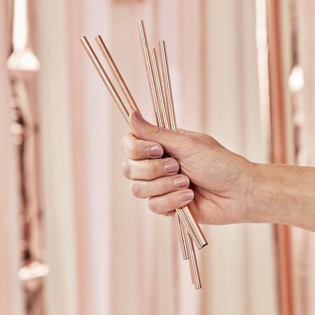 Immagine di Ginger Ray® Cannucce in acciaio inossidabile Rose Gold 5 pezzi