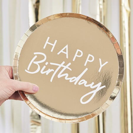 Immagine di Ginger Ray® Piatti con foglio Happy Birthday 8 pezzi