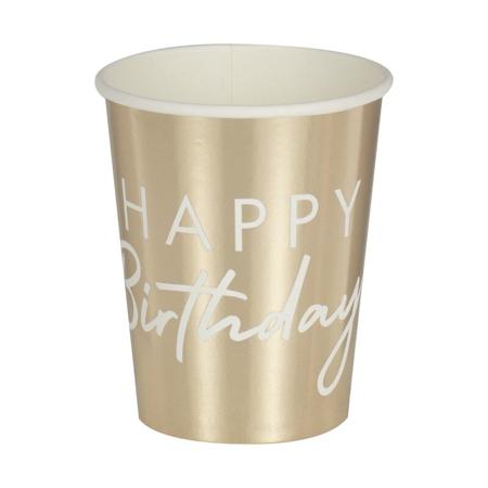 Immagine di Ginger Ray®  Bicchieri di carta Happy Birthday Gold 8 pezzi