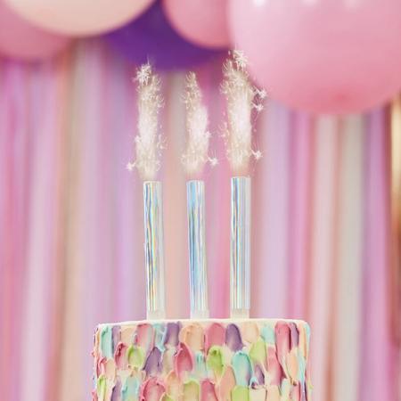 Immagine di Ginger Ray® Candela fontana per la torta Pink Iridescent 3 pezzi