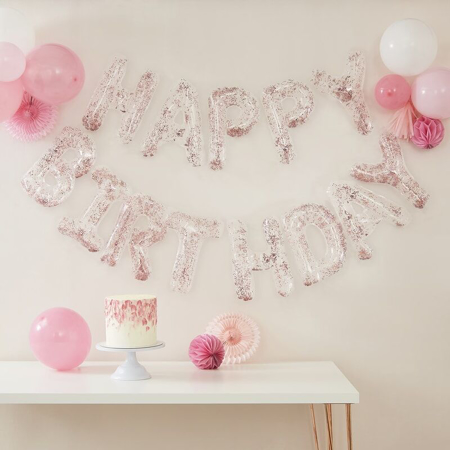 Immagine di Ginger Ray® Ghirlanda Palloncini con coriandoli Happy Birthday