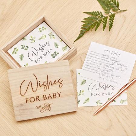 Immagine di Ginger Ray® Scatola in legno con biglietti Botanical