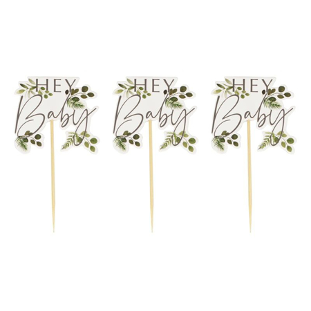 Immagine di Ginger Ray® Decorazioni per dolcetti Hey Baby Botanical 12 pezzi