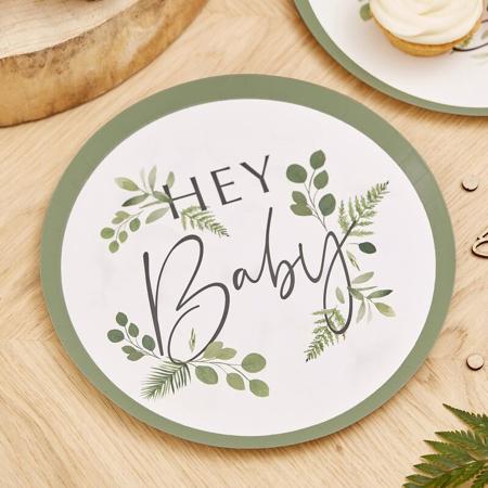Immagine di Ginger Ray® Piatti con foglio Hey Baby Botanical 8 pezzi