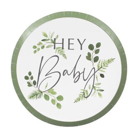 Ginger Ray® Piatti con foglio Hey Baby Botanical 8 pezzi