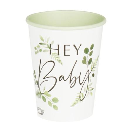 Immagine di Ginger Ray® Bicchieri di carta Hey Baby Botanical  8 pezzi